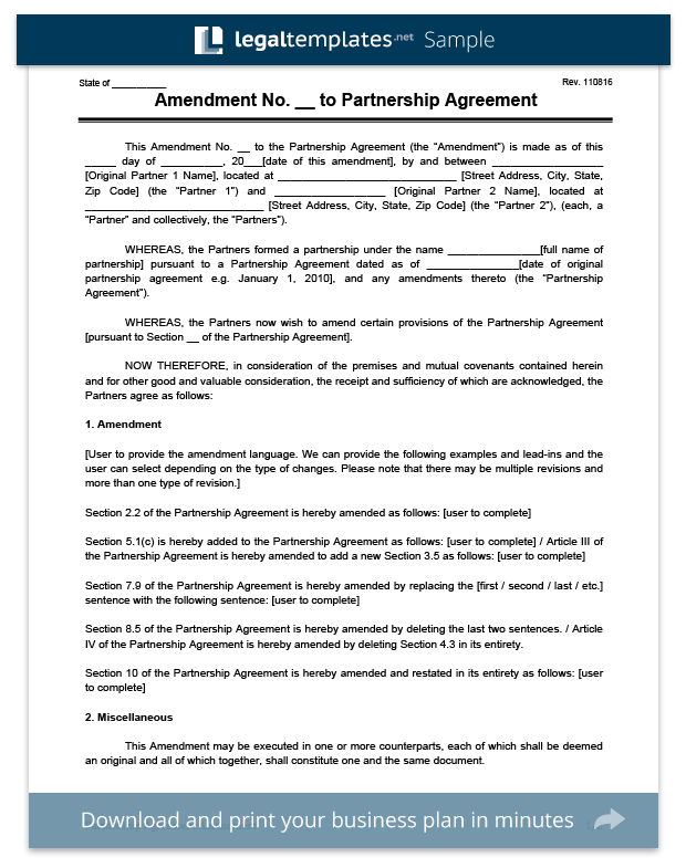 Create an amendment to a partnership agreement legal templates amendment to partnership agreement template maxwellsz