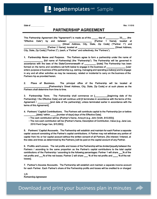 Partnership Agreement Template Create A Partnership Agreement - Llp operating agreement template