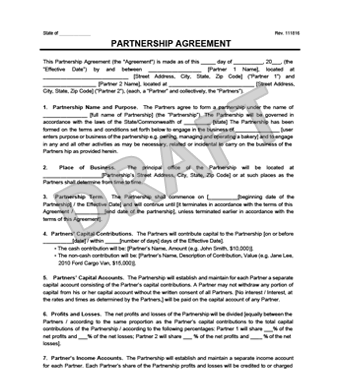 Partnership Agreement Template Create A Partnership Agreement