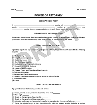 template for power of attorney letter