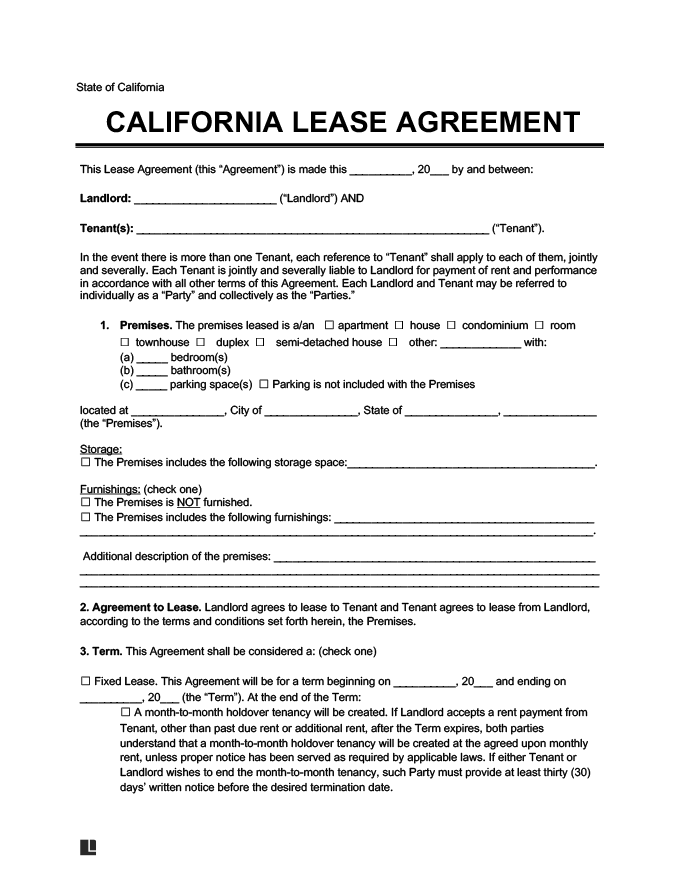 California Residential Leaserental Agreement Create Download