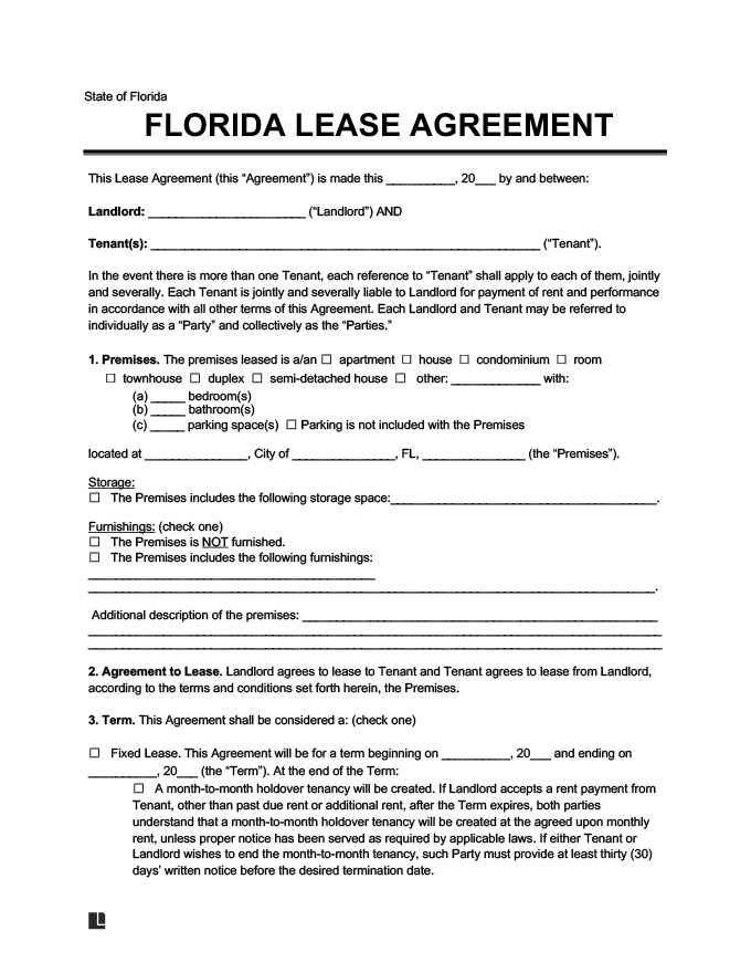 florida residential lease  rental agreement