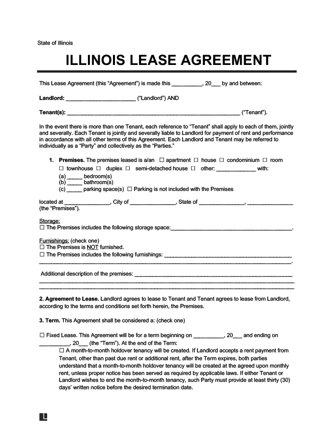 Illinois Residential Lease Rental Agreement Create
