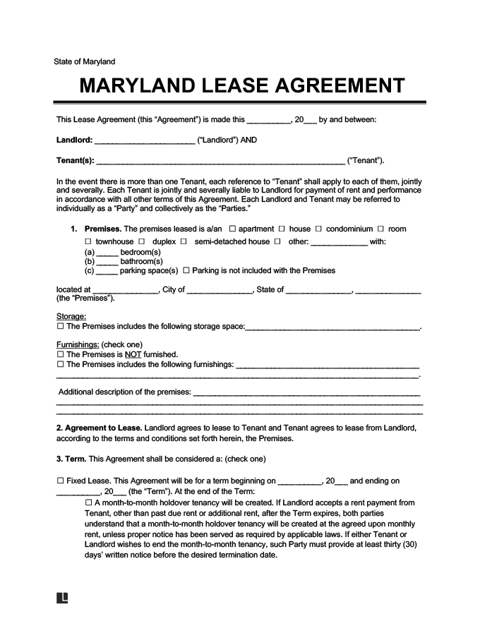 Maryland Residential Lease Rental Agreement