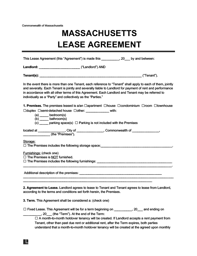 Massachusetts Residential Lease Agreement Create Download