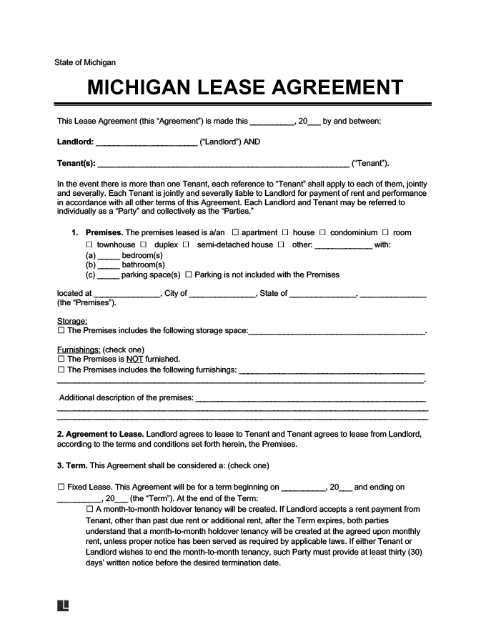 Standard Lease Agreement Michigan
