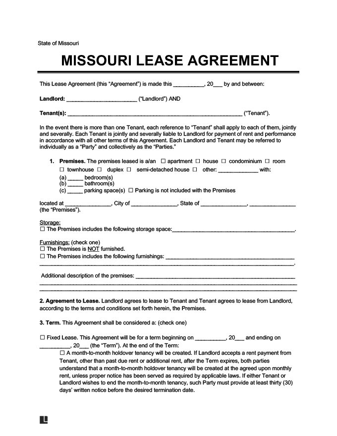 Missouri Residential Leaserental Agreement Create Download