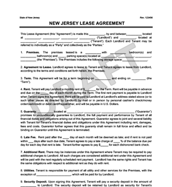 residential lease agreement nj New Jersey Residential Lease Agreement | Create
