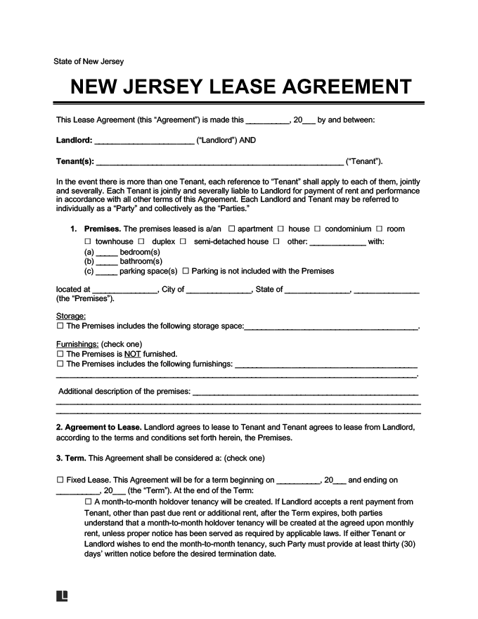 New Jersey Residential Rental Lease Agreement