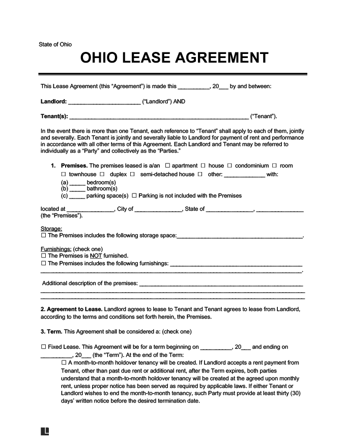 Ohio Residential Lease Rental Agreement Forms Template