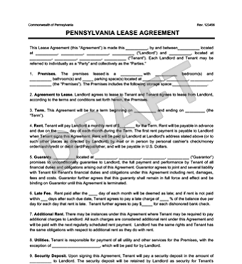 Pennsylvania Residential Lease Agreement Create Amp Download