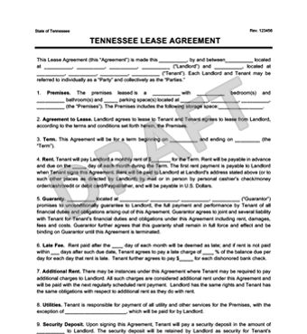 Tennessee Residential Lease Rental Agreement Create