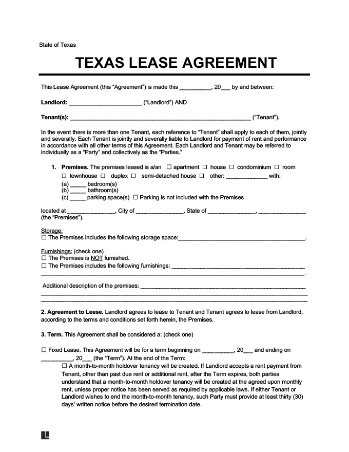 Texas Lease Rental Agreement Form Template