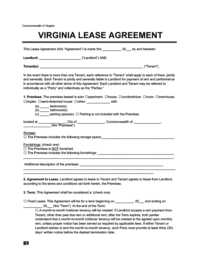 Virginia Residential Lease Rental Agreement Create