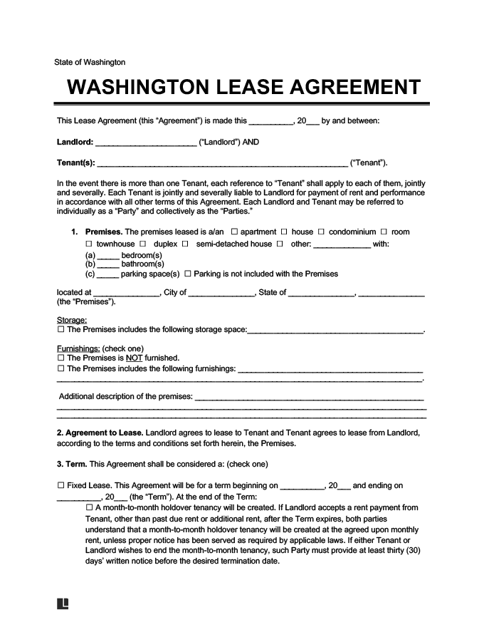 washington state residential lease agreement create download. Black Bedroom Furniture Sets. Home Design Ideas