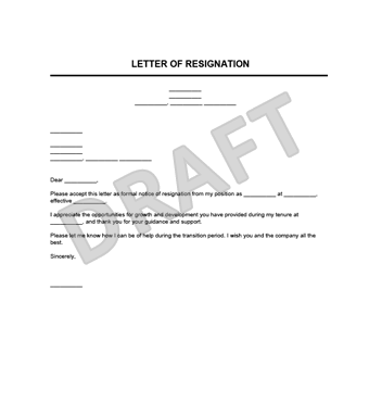resignation letter template legal templates
