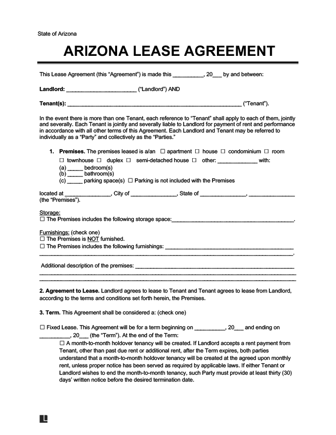 Arizona Residential Lease Rental Agreement Form Template