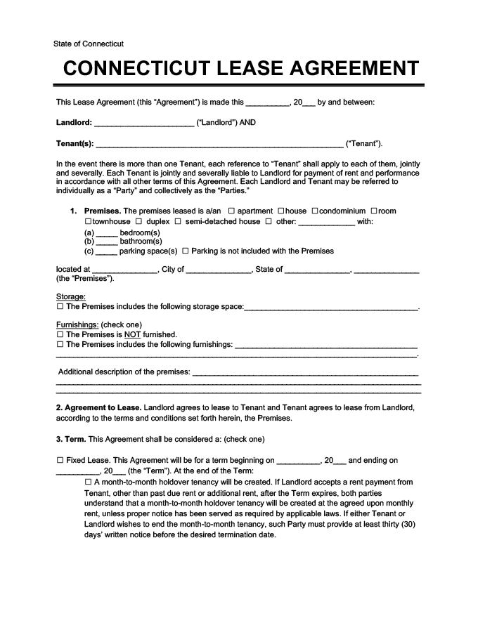 Connecticut Residential Leaserental Agreement Forms Free Pdf