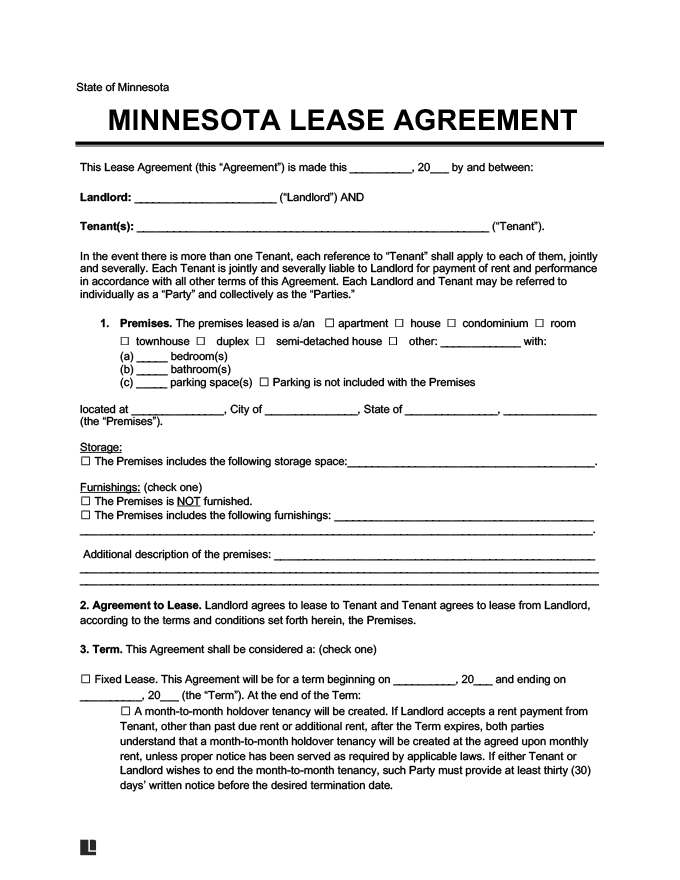 Minnesota Residential Lease Rental Agreement Form Docs