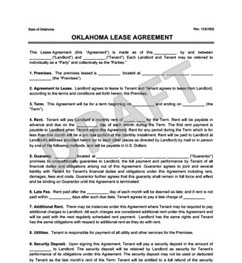 Oklahoma Residential Leaserental Agreement Forms Free Pdf