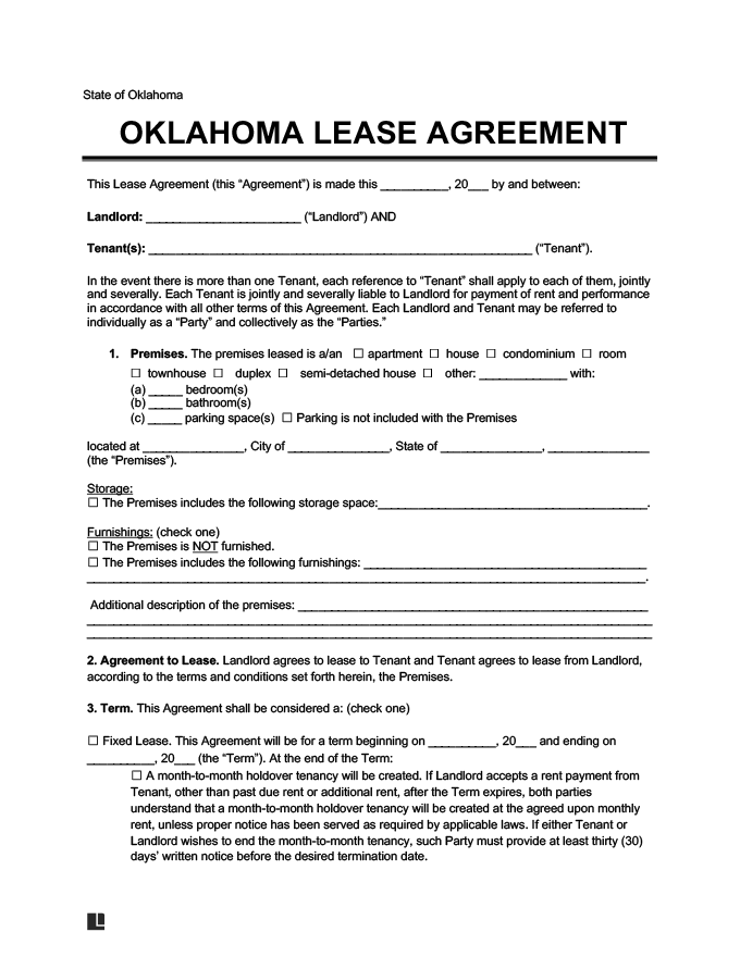 Oklahoma Lease Agreement Template