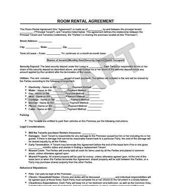 Room Rental Agreement Example Thumbnail  Free Rental Agreements