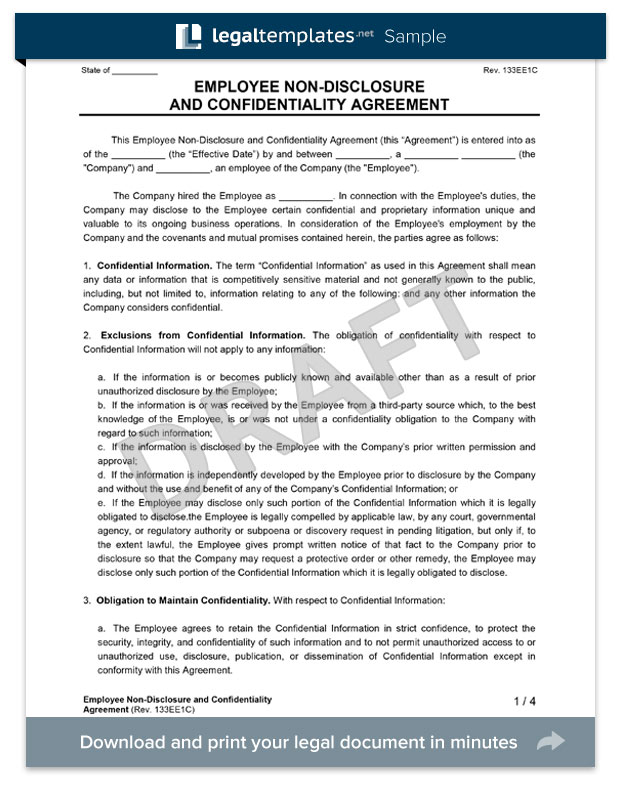 employee non-disclosure agreement form template