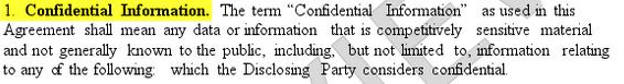 NDA confidential information example