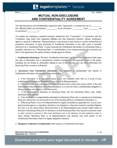 Mutual Non-Disclosure Agreement NDA form template
