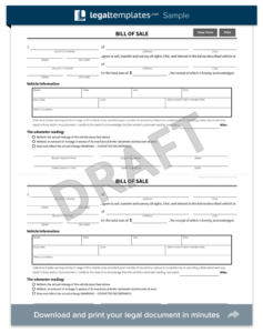 Virginia Motor Vehicle Bill of Sale Form