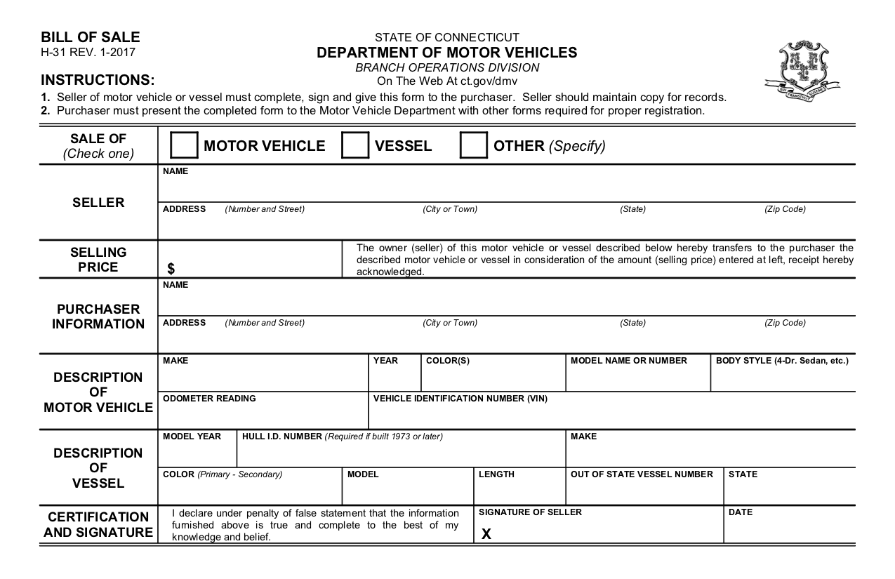 Connecticut Automobile Bill of Sale