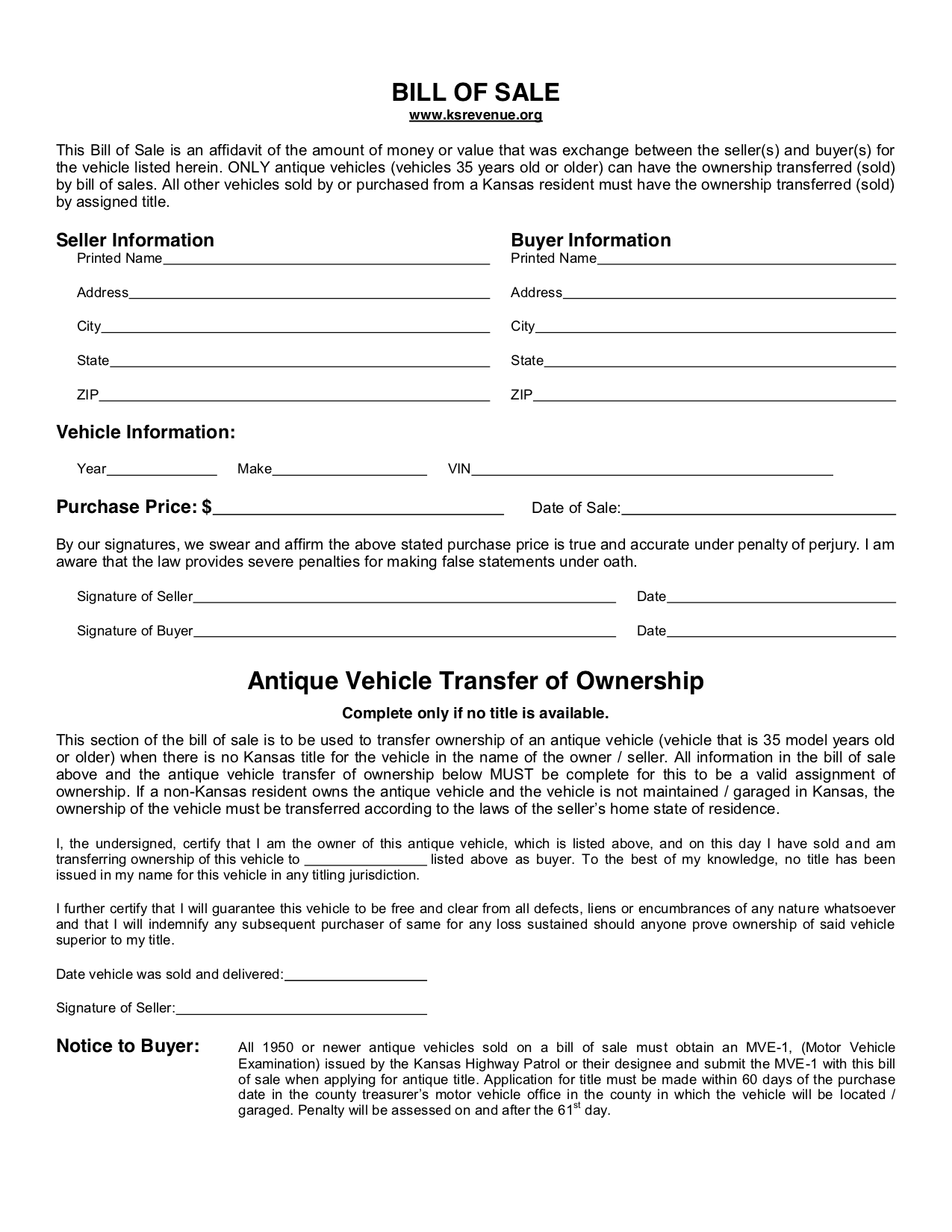 free kansas bill of sale form pdf template legaltemplates