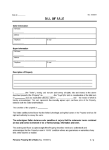 Personal Property Bill of Sale Example Form