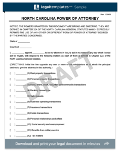 North Carolina Power of Attorney Template (Financial)