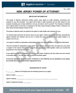 photograph relating to Printable Power of Attorney Form Nj identify No cost Fresh new Jersey Energy of Legal professional Varieties PDF Term