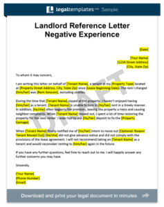 Landlord Reference Letter Negative Experience Template