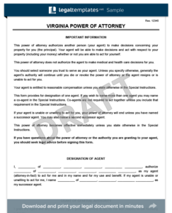 Virginia Power of Attorney Template (Financial)