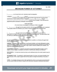 Michigan Power of Attorney Template (Financial)