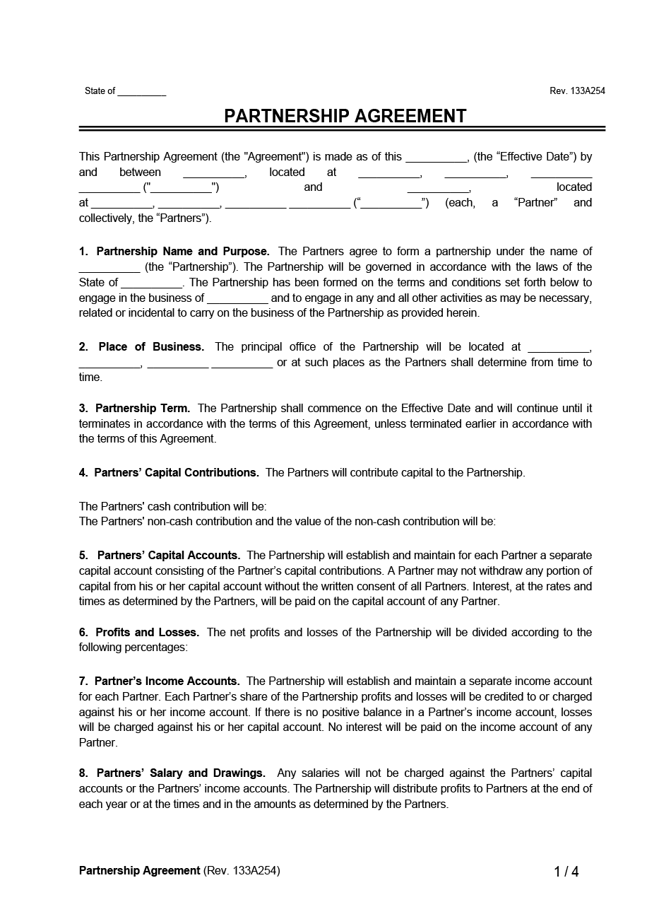Partnership Agreement example form