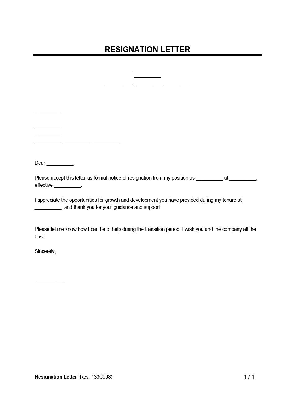 Resignation Letter Template   Legal Templates