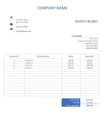 construction invoice template sample image