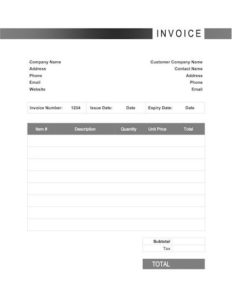 generic invoice template word sample image