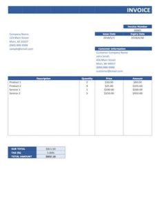 simple invoice template word sample image