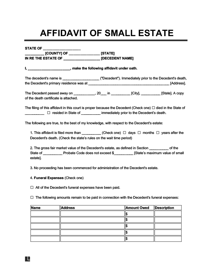 small estate affidavit