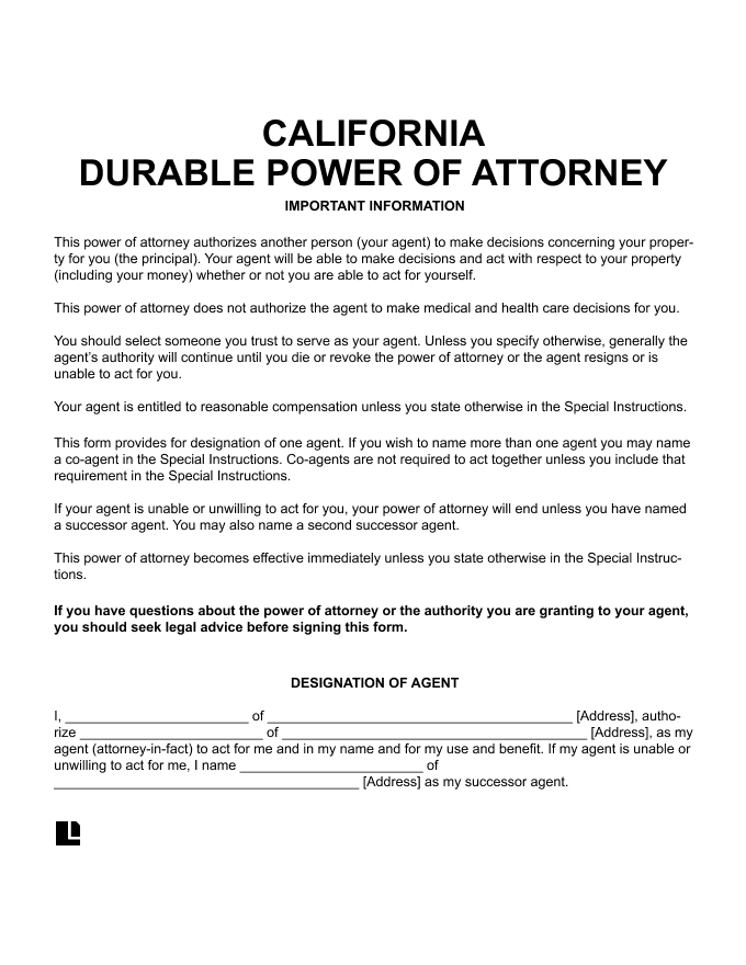 California Durable Power of Attorney