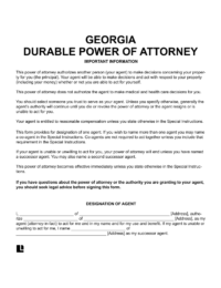 Georgia durable power of attorney form