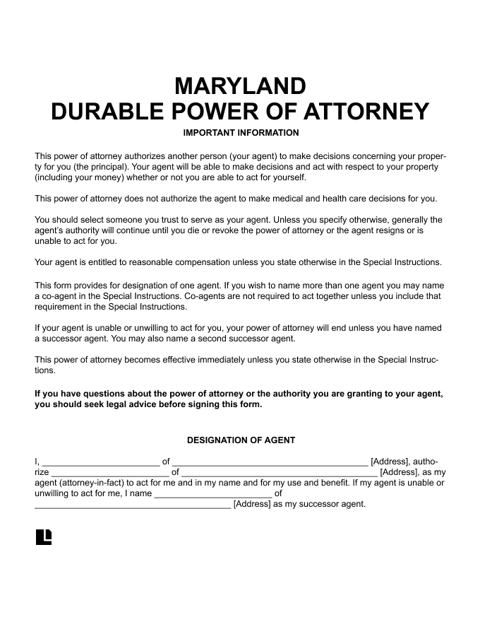 Maryland Durable Power of Attorney