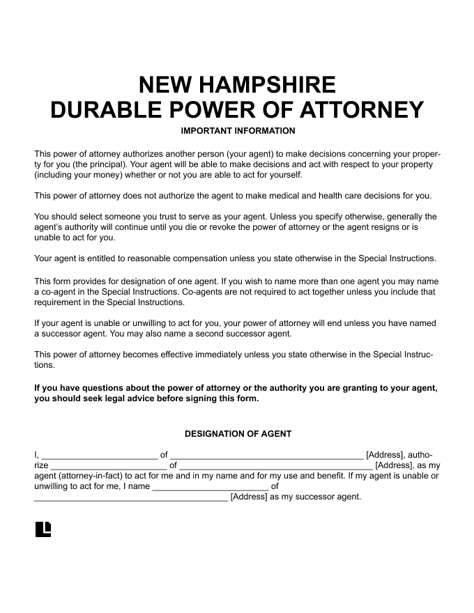 New Hampshire Durable Power of Attorney