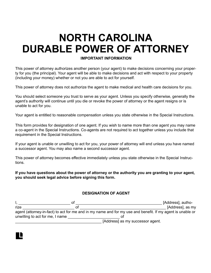 North Carolina Durable Power of Attorney