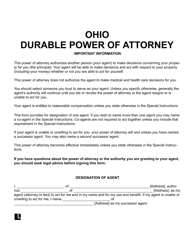 Ohio Durable Power of Attorney